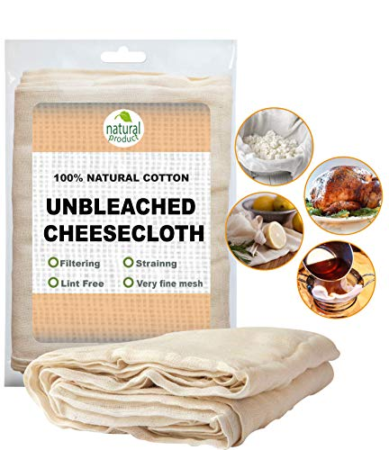 Ultra Fine Cotton Cheesecloth 9 Sq Feet Unbleached Filter Strainer Baking Cooking & ALL PURPOSE Hallowmas Decorations Cheese/Kombucha Reusable Cotton Natural Washable Nut Milk -