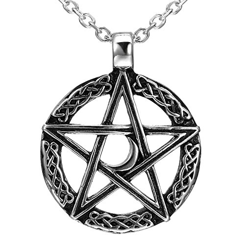 Urban Jewelry Vintage Style Pentacle Pentagram Crescent Moon Stainless Steel Pendant Necklace for Men (21-inch Chain)]()