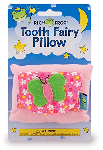 Rich Frog Butterfly Tooth Fairy Pillow and Tooth Keepsake, Pink - 4