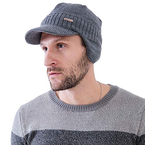 (Winter Beanie w/Visor & Earflaps for Men Outdoor Fleece Hat Scarf Set)