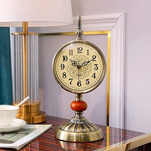 アメリカのレトロ時計時計リビングルームの置時計装飾ヨーロッパ時計寝室ミュート時計大デスクトップ時計芸術 作りがいい