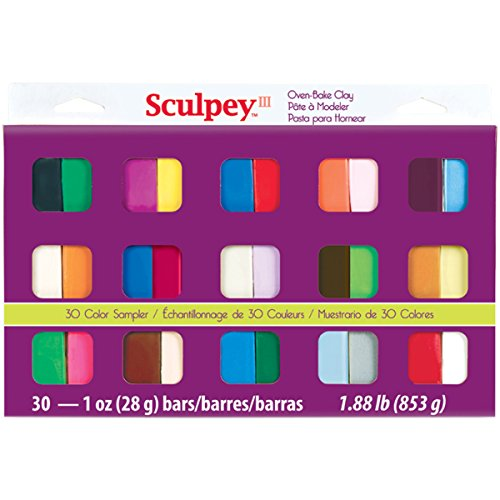 Brand New Sculpey III Polymer Clay Color Sampler 1oz 30/Pkg-Assorted Colors Brand New