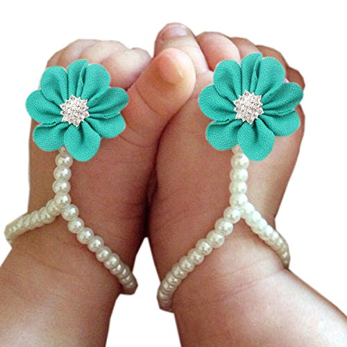 Bestjybt Baby Girl Pearl Chiffon Foot Flower Shoes Barefoot Sandals, Blue