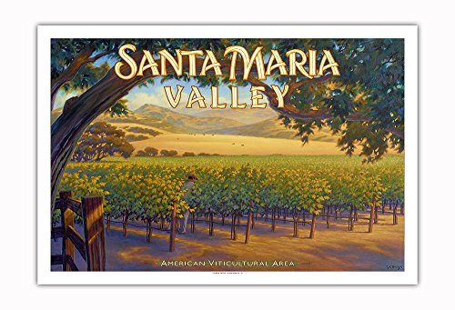 Pacifica Island Art - Santa Maria Valley Wineries - Central Coast AVA Vineyards - California Wine Country Art by Kerne Erickson - Fine Art Print - 30in x 44in