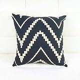 Modern Throw Pillow Covers Geometric Stripe Printing Square Pillowcase 16.5 X 16.5 inch Cushion Case for Home Sofa Office Car Decor (D)
