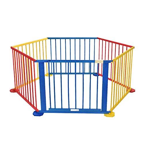 Baby Playpen 6 Panel Colors Wooden Frame Children Playard Room Divider