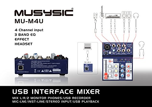 MUSYSIC 4-Channel Digital Mixer with USB Audio Interface for Studio,Webcast,Podcast MU-M4U by MUSYSIC