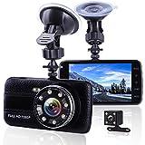 Car Camera Dash Cam Front and Rear Dual Camera, Superior Night Vision 1080P HD Dashcam,4 Inch Large IPS Screen Car Dashboard Camera, Car Video Recorder With G-sensor, Loop Recording, Motion Detection