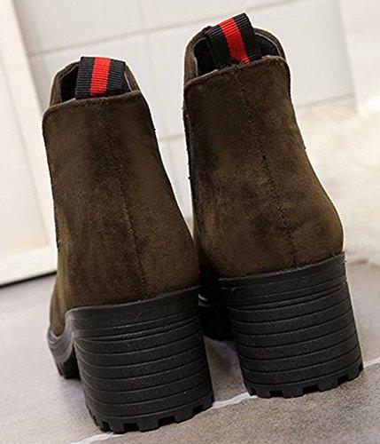 Booties Green Block Elastic Heels Women's Aisun Mid Toe Round a88qw