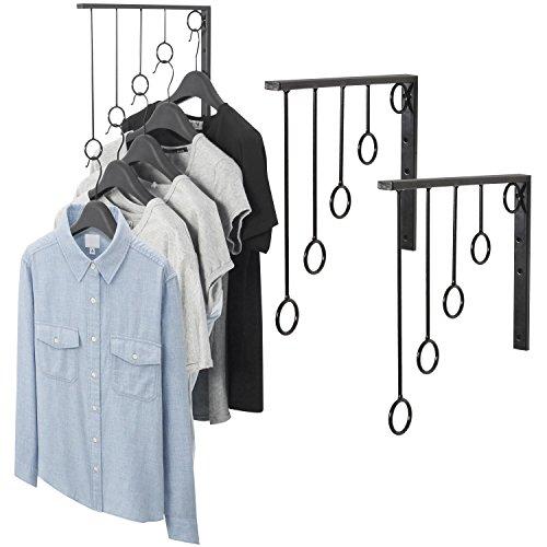 MyGift Wall Mounted Set of 3 Garment Racks, 5 Ring Clothing Organizers, Black ()