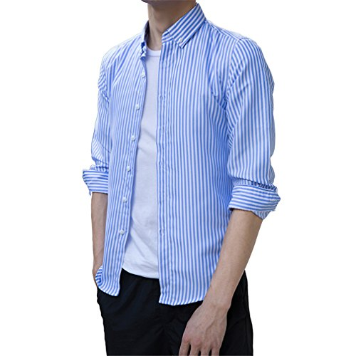 JZOEOEU Mens Casual Slim Fit Button Down Long Sleeve Stripes Dress Shirts Light Blue Asian Tag 4XL(US L)