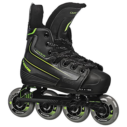 Tour Hockey Code 9 Youth Adjustable Inline Hockey Skate, Black, Small 11-1