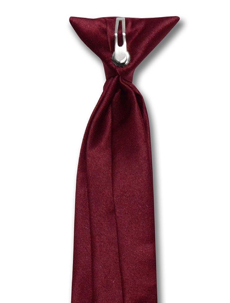 Vesuvio Napoli Boys CLIP-ON NeckTie Solid BURGUNDY Color Youth Neck Tie