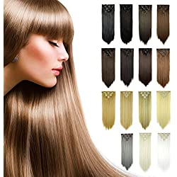 FESHFEN 24 Inch 7 Pcs 16 Clips Straight Hair Extensions Long Synthetic Clip in Hair Extension Full Head Hair Pieces for Women 4.6oz/130g - 60# Platinum Blonde