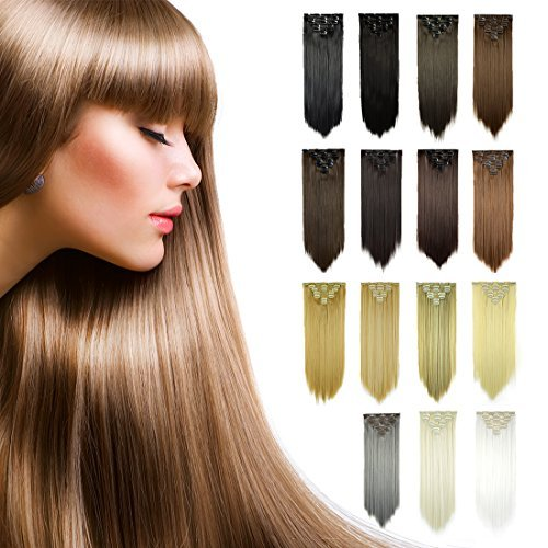 (FESHFEN 24 Inch 7 Pcs 16 Clips Straight Hair Extensions Long Synthetic Clip in Hair Extension Full Head Hair Pieces for Women 4.6oz/130g - 4# Dark Brown)