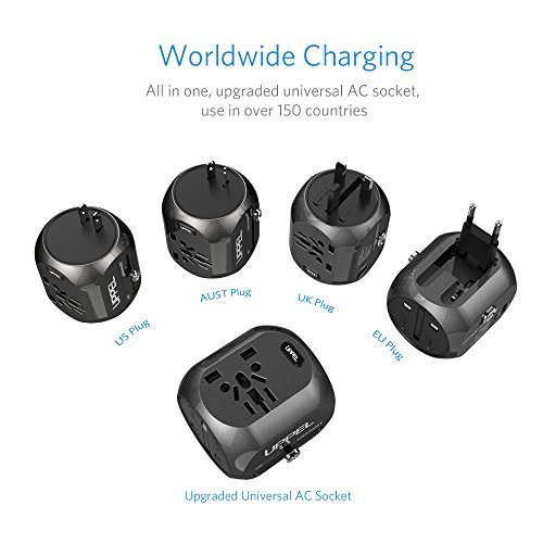 International Power Adapter, UPPEL Travel Adapte European Adapter Wall Charger Power with USB/Type-C Port Support 100V-240V for US,AU,Asia,Europe,UK Plug Adapters Compatible (Black)