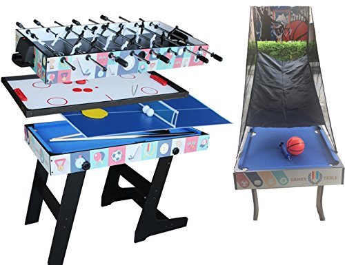 Deluxe 5 in 1 Top Game Table Folding Table-Table Tennis,Glide Hockey,Chess,Pool,Basketball Set ()