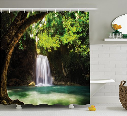 Paradise Falls Waterfall (Ambesonne Natural Waterfall Decor Collection, Waterfall Flowing to Lake Deep Down in the Forest Secret Paradise Photo, Polyester Fabric Bathroom Shower Curtain, 75 Inches Long, Green Brown)