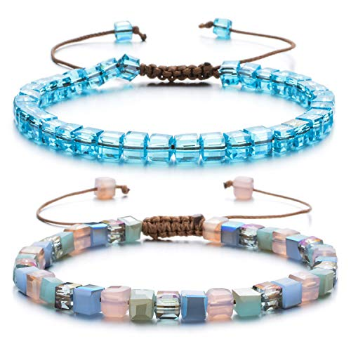Women Bracelet Crystal Glass Bead Adjustable Bangles Handmade String Bohemia Jewelry with Gift Box(2Pcs) ()