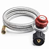 SHINESTAR 48Inch 20 PSI Adjustable Propane Regulator with Hose, Stainless Steel Braided Turkey