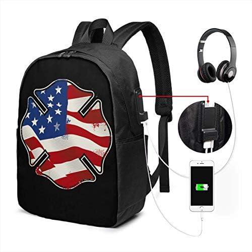 RROOT Root Unisex Rucksack mit USB-Ladeanschluss, Feuerwehrmann mit amerikanischer Flagge, klassisch, für Business