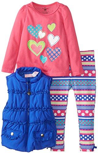 Kids Headquarters Little Girls' 3 Pack Heart Print Vest Set, Blue, 4T