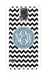 iZERCASE Samsung Galaxy S5 Case Monogram Personalized Black and White Chevron with Grey Circle RUBBER CASE - Fits Samsung Galaxy S5 T-Mobile, Sprint, Verizon and International (White) by runtopwell