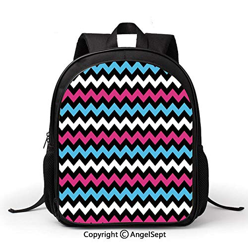 Lightweight Backpack for School,Modern,Colorful Zigzag Twisty Bands Winding Abstract Chevron Tiles Geometric Print,Pink Sky Blue Black,Student schoolbag Daypack for Travel