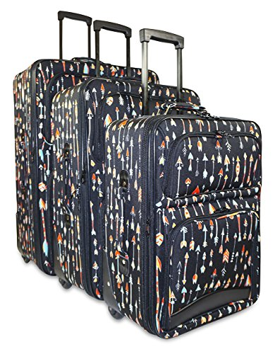 Ever Moda 3-Piece Carry On Luggage Set with Wheels, Rolling Suitcase, Arrow (3 Piece Print Luggage Set)