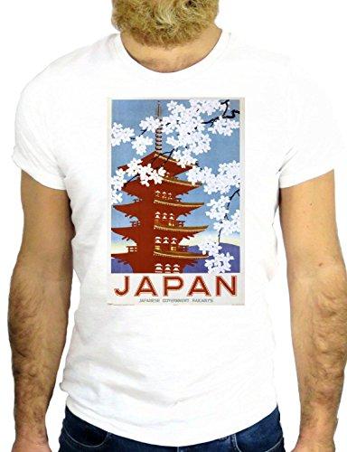 T SHIRT Z0123 JAPAN PAGODA TOKYO SAMURAI COOL NICE VINTAGE FLOWER MANG GGG24 BIANCA - WHITE S