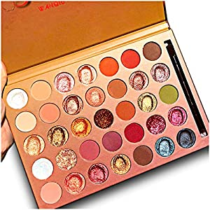 Best Epic Trends 513MfZxuy1L._SS300_ Pro 35 Colors Glitter Eyeshadow Palette with Eyeshadow Brush,Highly Pigmented Pressed Soft Creamy Metallic Matte Shimmer…