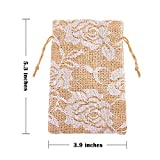 Whaline 20 Packs Rose Lace Burlap Bags with Drawstring Gift Bags Jewelry Pouch for Wedding Party DIY Arts & Crafts Presents, 5.3 x 3.9 inches