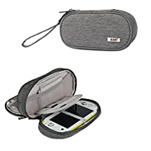 Protective PS VITA Case Carrying Case for Sony PSV 1000 2000(PS Vita Slim)3000 Double-layers PSP Hand Bag For Video Console and Various Game Accessories (Gray)