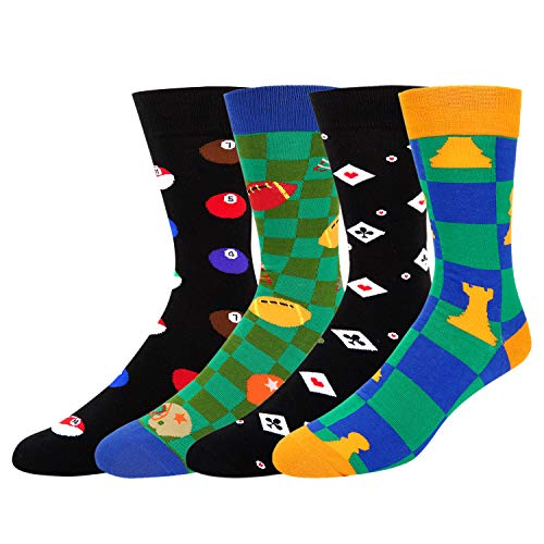 Mens Novelty Poker Dress Socks Funny Dice Chess Colorful Billiards Rugby Cotton Sports Crew Socks 4 Pack