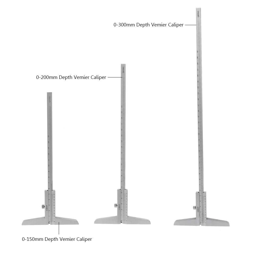 0-200mm 0-150mm 0-300mm Edelstahl Tiefenmessschieber Messschieber 0,02mm