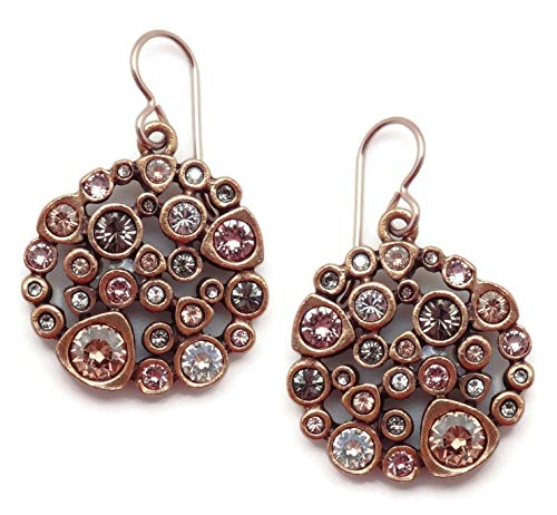 (Patricia Locke Champagne Popcorn Pink Grey Mix Swarovski Crystal Goldtone Hook Earrings)