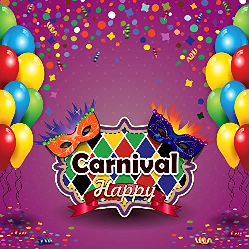 Leowefowa 7x7ft Vinyl Backdrop Happy Carnival Photography Background Carnival Mask Colourful Balloon Festival Party Celebration Backdrop Children Baby Adults Portraits Photo Studio