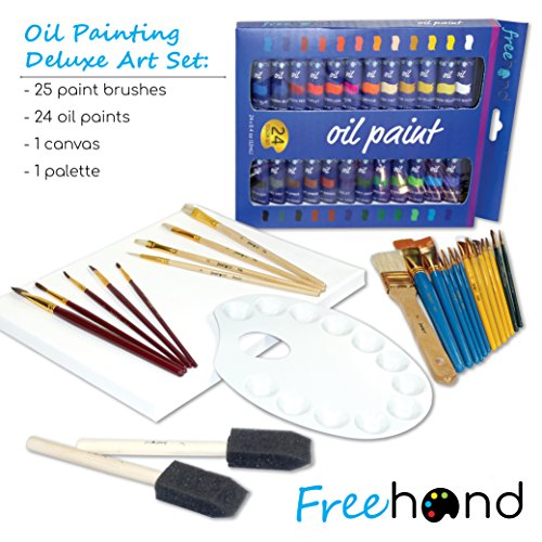 Deluxe Oil Paint Set - 24 Paints, 25 Brushes, 1 Canvas, and Art Palette - Oil Painting Supplies for Kids and Adults, Paint Supplies