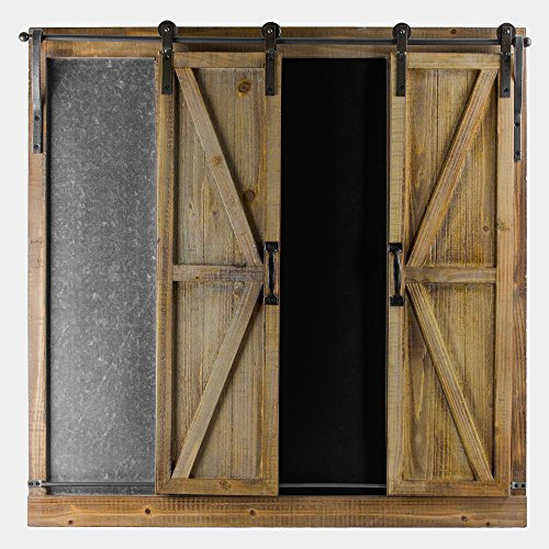 Sliding Message Board - American Art Décor Rustic Wood and Metal Chalkboard Message Board with Sliding Barn Doors - Farmhouse Wall Décor