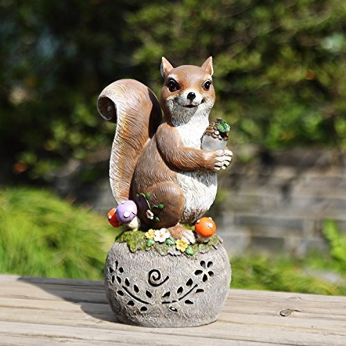 Ivy Home Solar Statues for Garden,the Squirrel Carried a Nut by Ivy Home