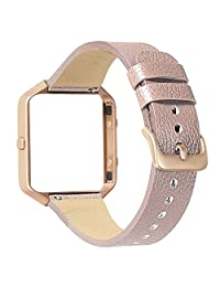 For Fitbit Blaze Slim Band,ESEEKGO Replacement Genuine Leather Strap with Rose Gold Frame for Fitbit Blaze Smart Watch Wristband Gray (No Tracker)