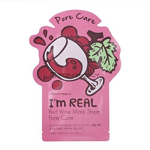 Price comparison product image Tonymoly I'm Real Skin Care Facial Mask Sheet Package (Red Wine - Pore Care 10 Sheets)