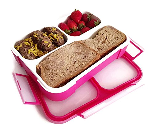PlusPoint Eco-friendly Leakproof Bento Lunch Box,Food Container,3 Compartments + Spoon,Microwave Safe,BPA Free and FDA Approved for Kids & Adults, Includes Ebook (Pink)