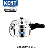 Kent Stainless Steel Pressure Cooker with Glass Lid 1.5litres (Prime)