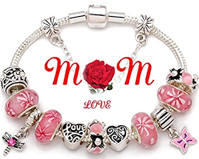 """Mother Gift """"A Garden Of Love Grows In A Mother's Heart"""" Bracelet Pink Flower Bead Charm Best Gift for Mom on Mother's Day, Birthday and Christmas Gift Compatible with Pandora Bracelet"""