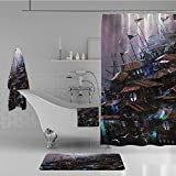 iPrint Bathroom 4 Piece Set Shower Curtain Floor mat Bath Towel 3D Print,Wooden Castle with Circular Windows Architecture,Fashion Personality Customization adds Color to Your Bathroom.