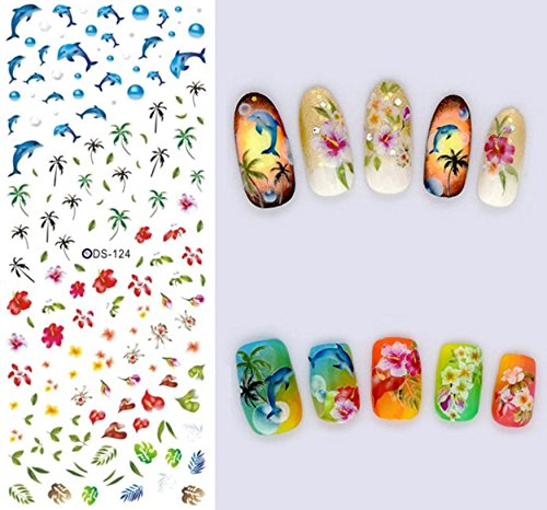 DS124 Dolphins Ocean Palm Tree Nail Art Stickers Water Transfer Decals Decorations DIY - Palm Tree Nail Art