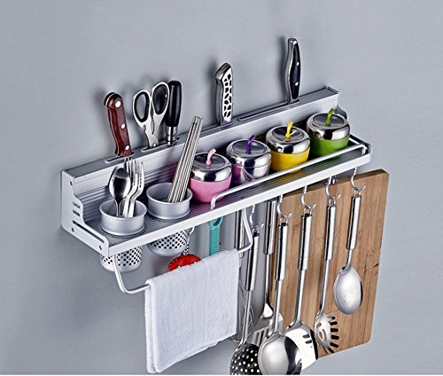 KissH Wall Mounted Multifunction Aluminum Alloy Shelf for Kitchen With Guardrail Knife Holder Spice Rack L 23.6 - Rail Guard Holder