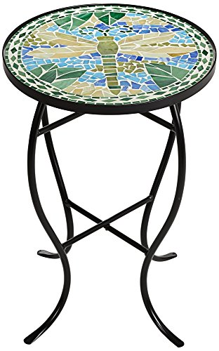 dragonfly mosaic black iron outdoor accent table tables