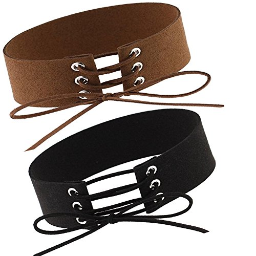 Lace Up Choker Necklace Adjustable Brown